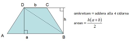 Omkrets och area för parallelltrapets